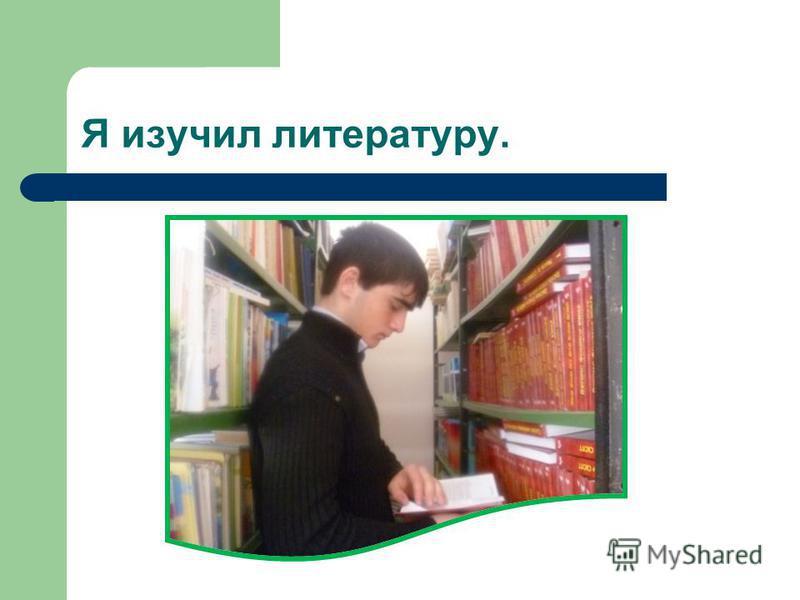Я изучил литературу.