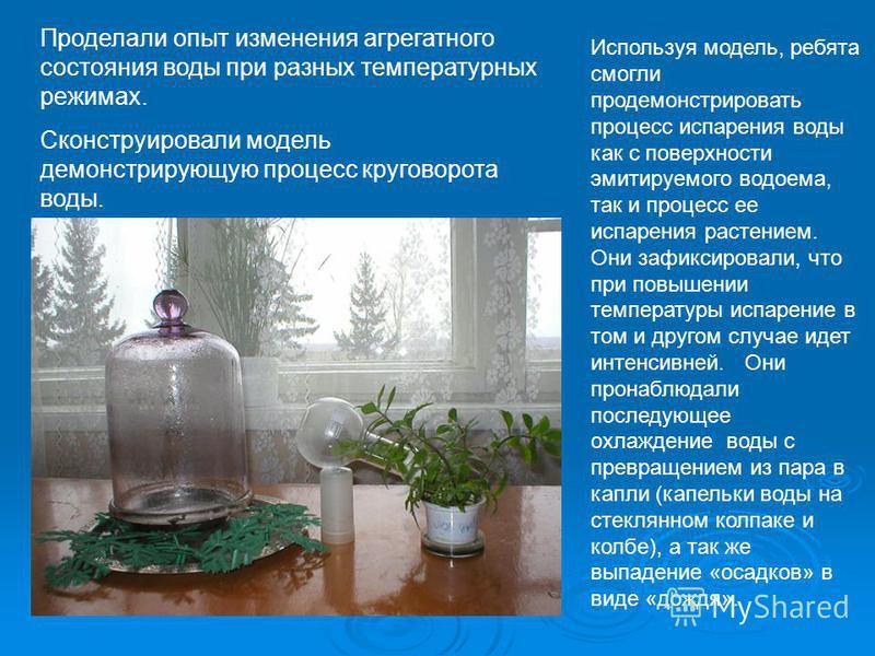 Проделали опыт изменения агрегатного состояния воды при разных температурных режимах. Сконструировали модель демонстрирующую процесс круговорота воды. Используя модель, ребята смогли продемонстрировать процесс испарения воды как с поверхности эмитиру