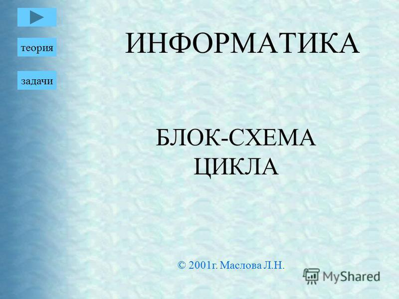 ИНФОРМАТИКА БЛОК-СХЕМА ЦИКЛА теория задачи © 2001 г. Маслова Л.Н.