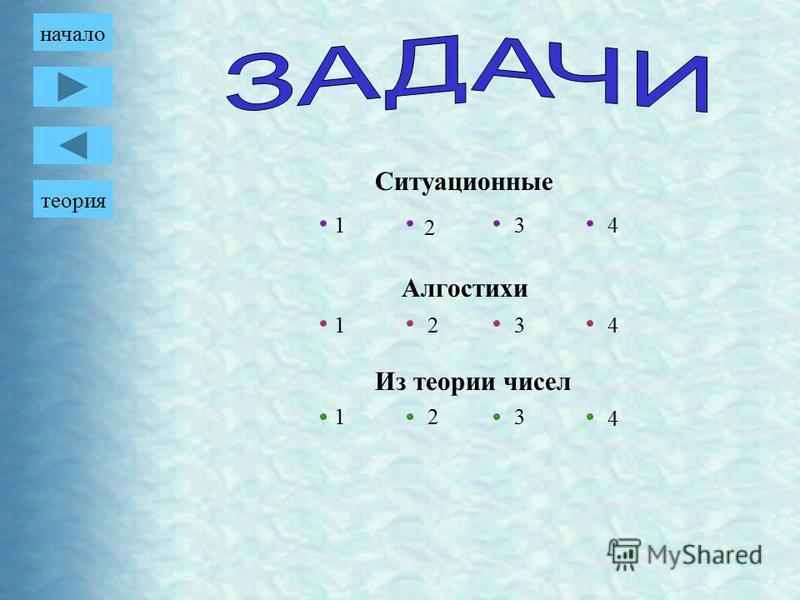 Из теории чисел Ситуационные Алгостихи 1 2 3 4 1 1 2 2 3 3 4 4 теория начало