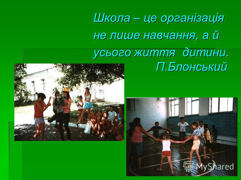 Школа – це організація Школа – це організація не лише навчання, а й не лише навчання, а й усього життя дитини. П.Блонський усього життя дитини. П.Блонський