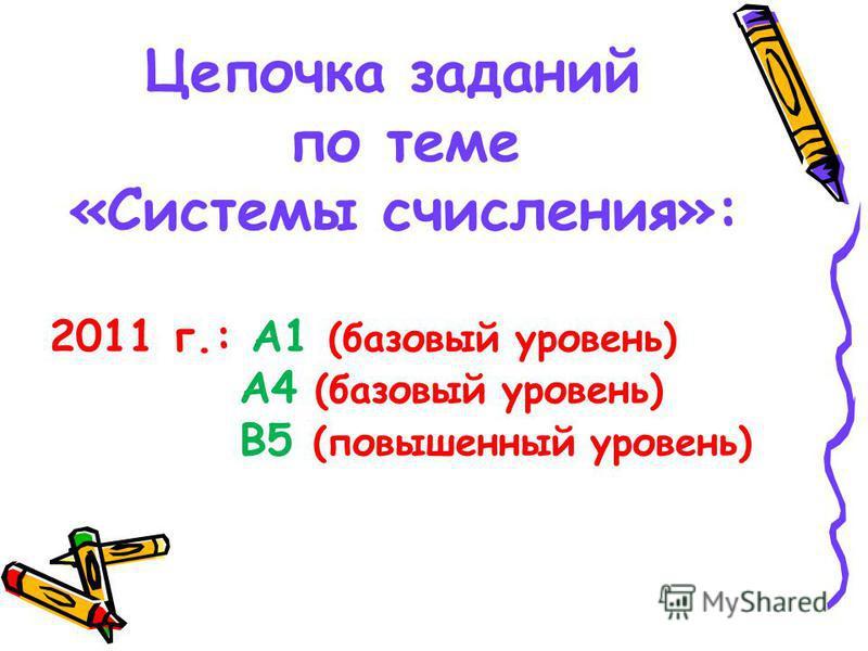 Цепочка заданий по теме «Системы счисления»: 2011 г.: А1 (базовый уровень) А4 (базовый уровень) В5 (повышенный уровень)