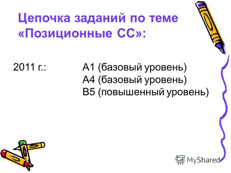 Цепочка заданий по теме «Позиционные СС»: 2011 г.: А1 (базовый уровень) А4 (базовый уровень) В5 (повышенный уровень)