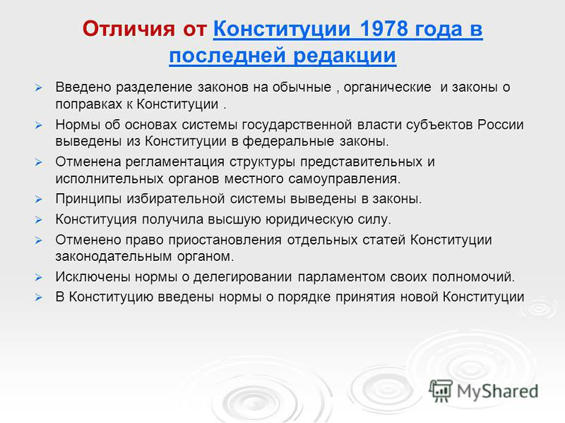 Отличия от Конституции 1978 года в последней редакции Конституции 1978 года в последней редакции Конституции 1978 года в последней редакции Введено разделение законов на обычные, органические и законы о поправках к Конституции. Введено разделение зак