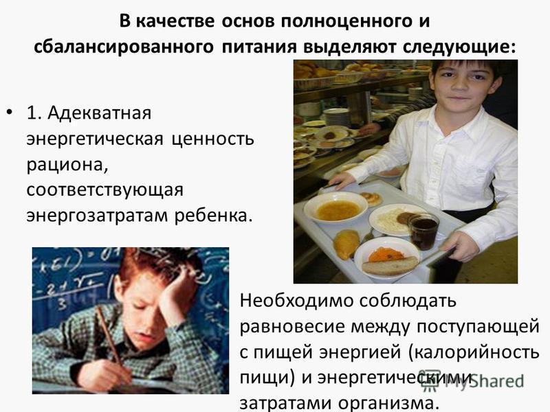 В качестве основ полноценного и сбалансированного питания выделяют следующие: 1. Адекватная энергетическая ценность рациона, соответствующая энергозатратам ребенка. Необходимо соблюдать равновесие между поступающей с пищей энергией (калорийность пищи