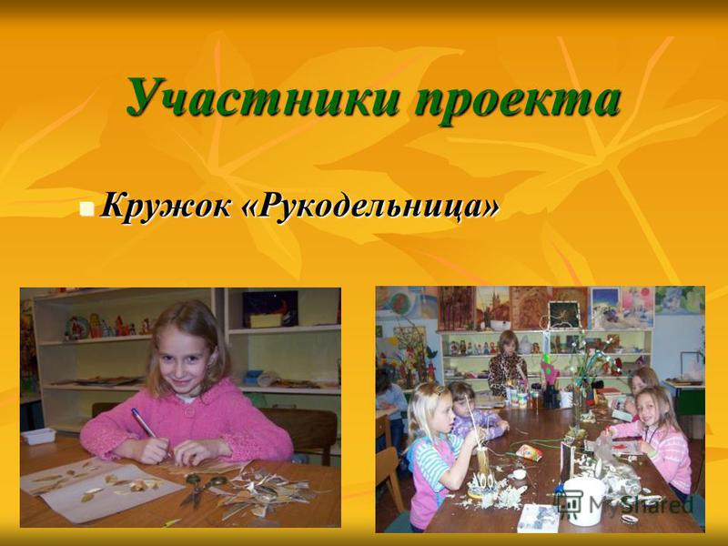 Участники проекта Участники проекта Кружок «Рукодельница» Кружок «Рукодельница»