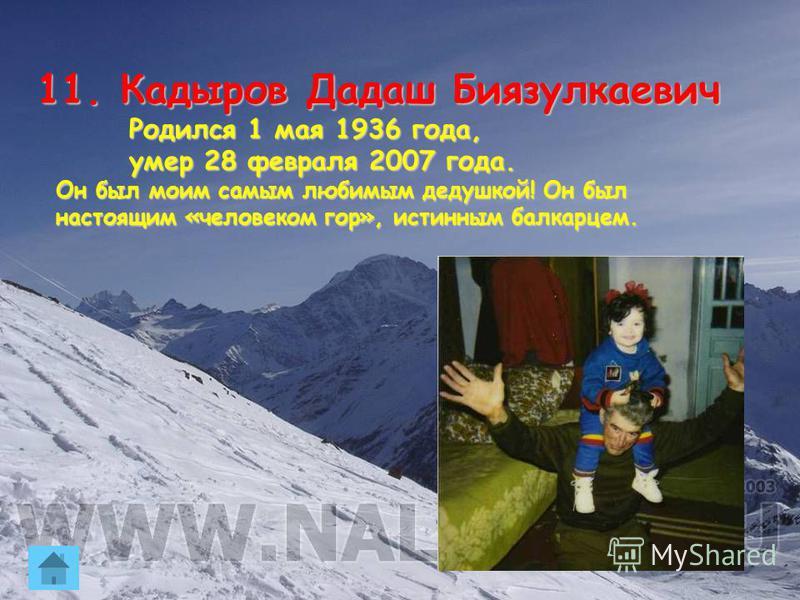 11. Кадыров Дадаш Биязулкаевич Родился 1 мая 1936 года, Родился 1 мая 1936 года, умер 28 февраля 2007 года. умер 28 февраля 2007 года. Он был моим самым любимым дедушкой! Он был Он был моим самым любимым дедушкой! Он был настоящим «человеком гор», ис