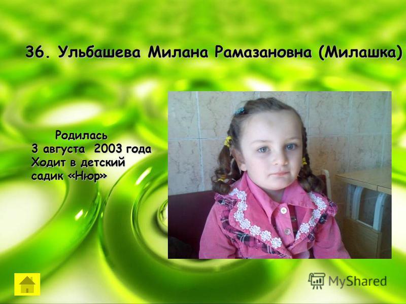 36. Ульбашева Милана Рамазановна (Милашка) Родилась Родилась 3 августа 2003 года Ходит в детский садик «Нюр»