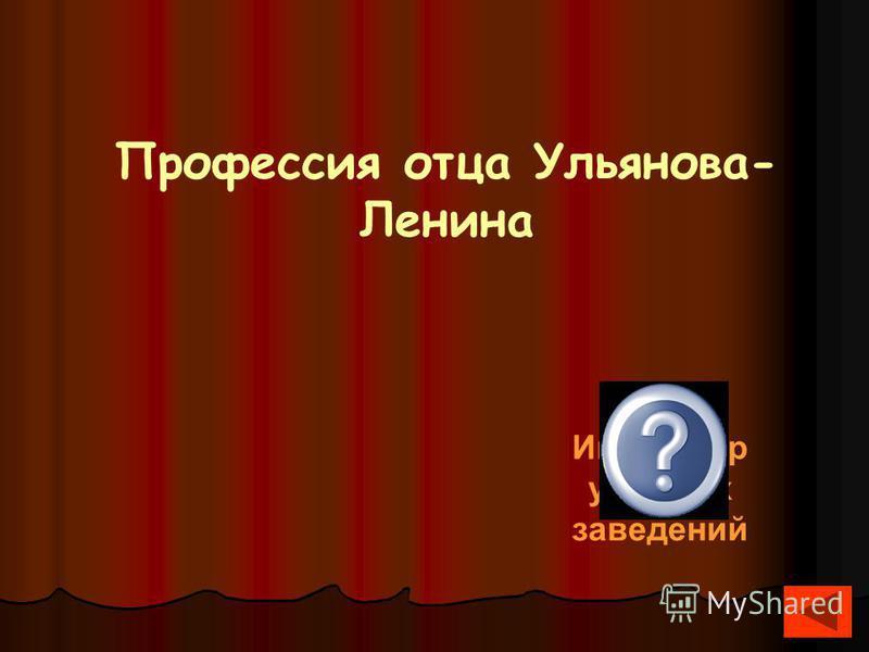 Профессия отца Ульянова- Ленина Инспектор учебных заведений