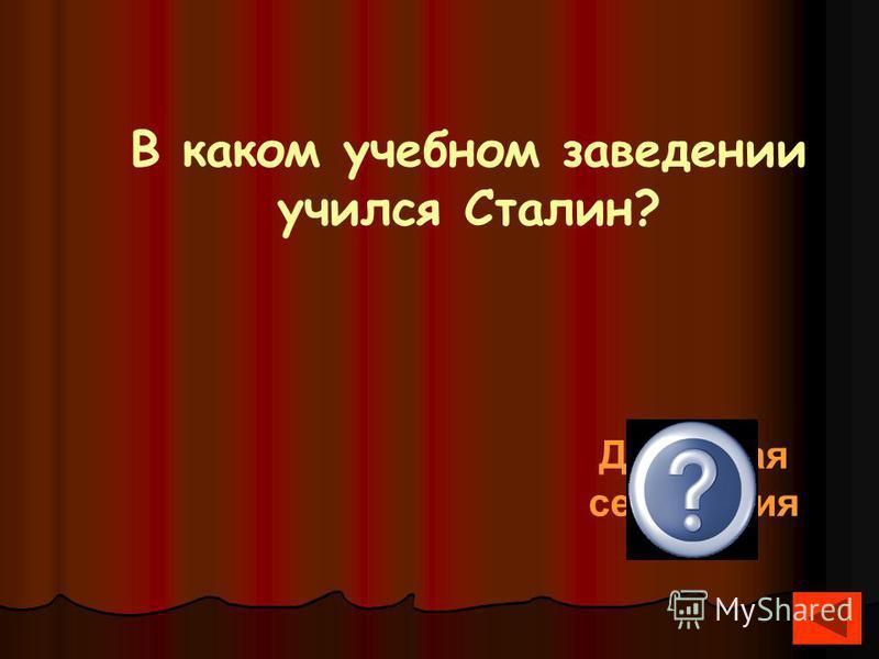 В каком учебном заведении учился Сталин? Духовная семинария
