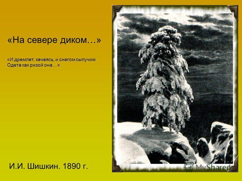 «На севере диком…» «И дремлет, качаясь, и снегом сыпучим Одета как ризой она…» И.И. Шишкин. 1890 г.