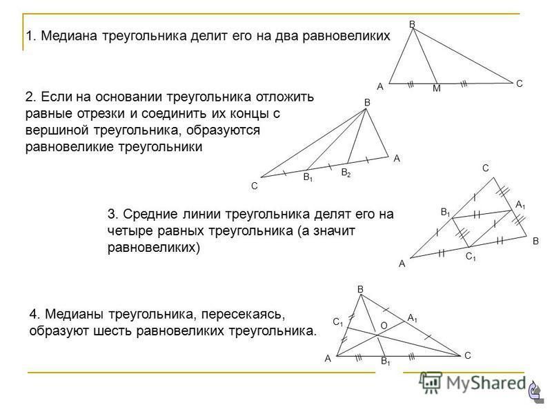 М С В А С1С1 А1А1 В1В1 С В А О 1. Медиана треугольника делит его на два равновеликих В2В2 В1В1 С А В 2. Если на основании треугольника отложить равные отрезки и соединить их концы с вершиной треугольника, образуются равновеликие треугольники 3. Средн