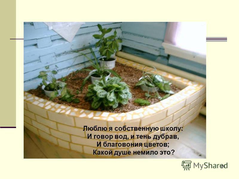 24 Люблю я собственную школу: И говор вод, и тень дубрав, И благовония цветов; Какой душе немило это?