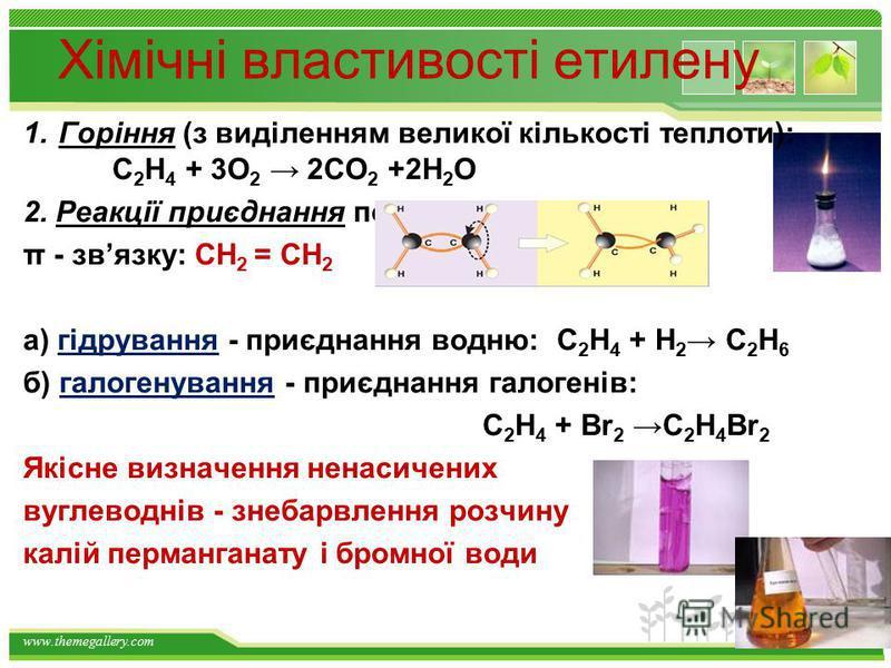 www.themegallery.com СН 4 + 2 О 2 = СО 2 + 2 Н 2 О Н = -882кДж заміщення СН 4 + Cl 2 СН 3 Cl + HCl СН 3 Cl+ Cl 2 СН 2 Cl 2 + HCl СН 4 + HO-NO 2 СН 3 NO 2 +Н 2 О Метан СН4 горіння