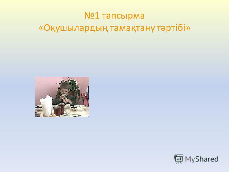 1 тапсырма «Оқушылардың тамақтану тәртібі»