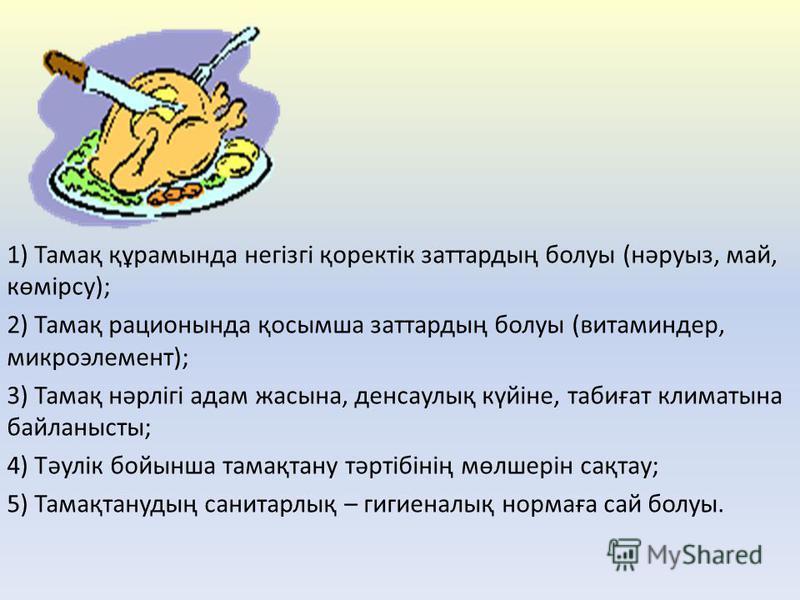 1) Тамақ құрамында негізгі қоректік заттардың болуы (нәруыз, май, көмірсу); 2) Тамақ рационында қосымша заттардың болуы (витаминдер, микроэлемент); 3) Тамақ нәрлігі адам жасына, денсаулық күйіне, табиғат климатына байланысты; 4) Тәулік бойынша тамақт