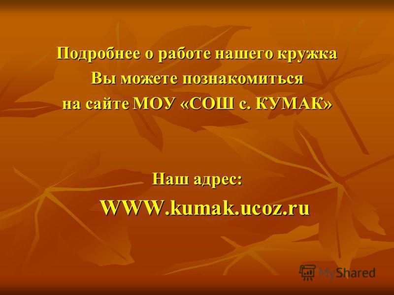 Подробнее о работе нашего кружка Вы можете познакомиться на сайте МОУ «СОШ с. КУМАК» Наш адрес: WWW.kumak.ucoz.ru