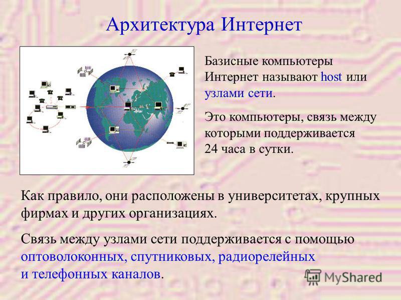 Архитектура Интернет Как правило, они расположены в университетах, крупных фирмах и других организациях. Связь между узлами сети поддерживается с помощью оптоволоконных, спутниковых, радиорелейных и телефонных каналов. Базисные компьютеры Интернет на