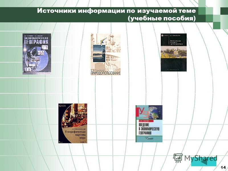 14 Источники информации по изучаемой теме (учебные пособия)