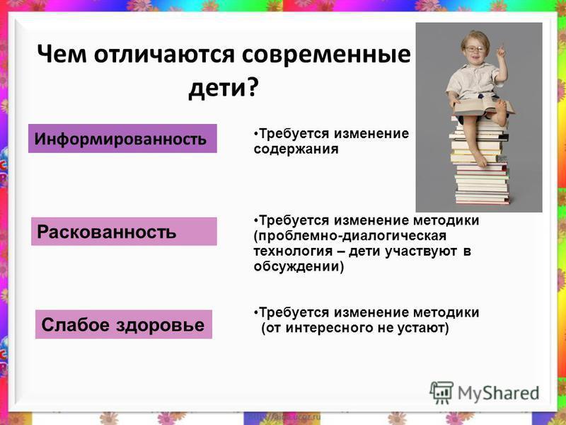 Чем отличаются современные дети? Информированность Требуется изменение содержания Требуется изменение методики (проблемно-диалогическая технология – дети участвуют в обсуждении) Требуется изменение методики (от интересного не устают) Раскованность Сл