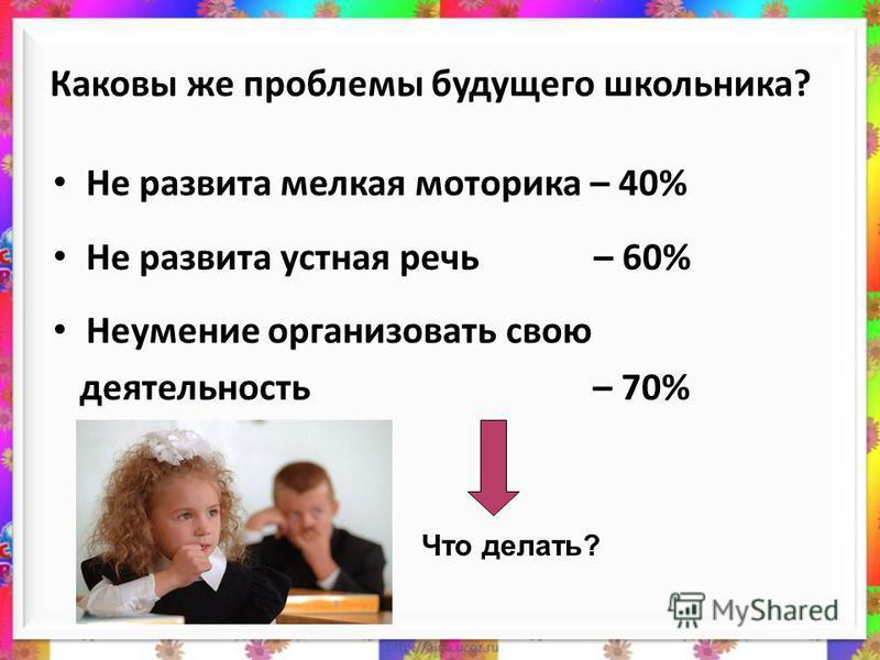 Каковы же проблемы будущего школьника? Не развита мелкая моторика – 40% Не развита устная речь – 60% Неумение организовать свою деятельность – 70% Что делать?