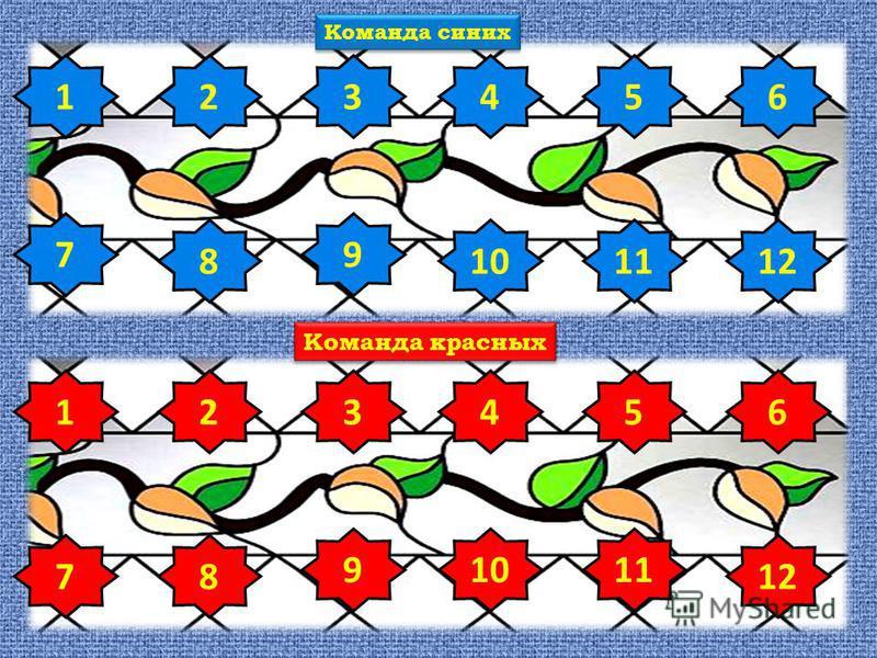1 78 23456 91011 12 1 7 8 23456 9 1011 Команда синих Команда красных 12