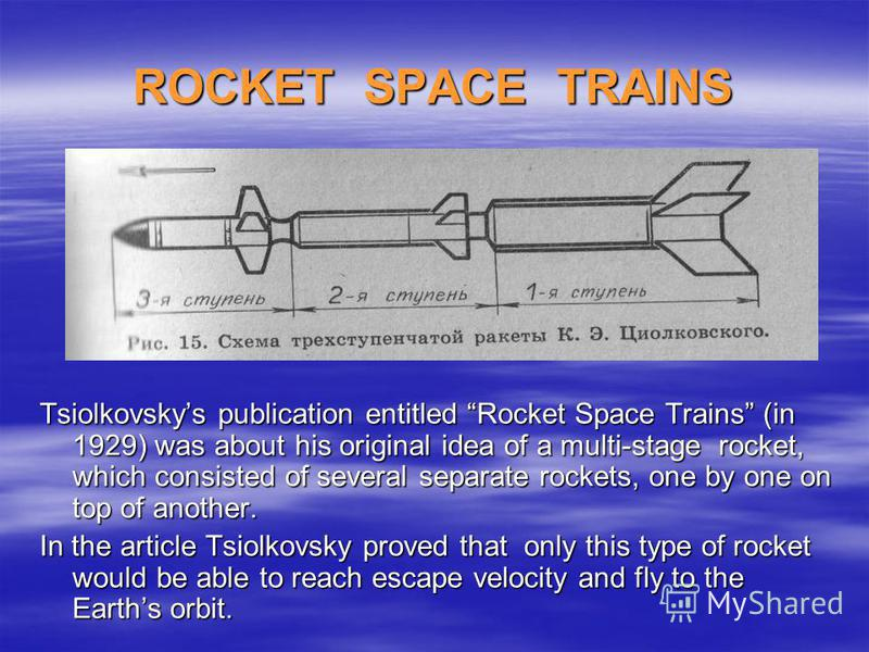 ROCKET SPACE TRAINS Tsiolkovskys publication entitled Rocket Space Trains (in 1929) was about his original idea of a multi-stage rocket, which consisted of several separate rockets, one by one on top of another. In the article Tsiolkovsky proved that