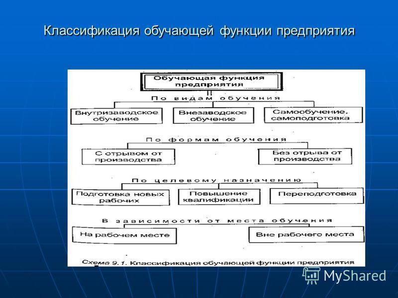 Классификация обучающей функции предприятия