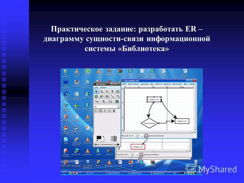 Практическое задание: разработать ER – диаграмму сущности-связи информационной системы «Библиотека»