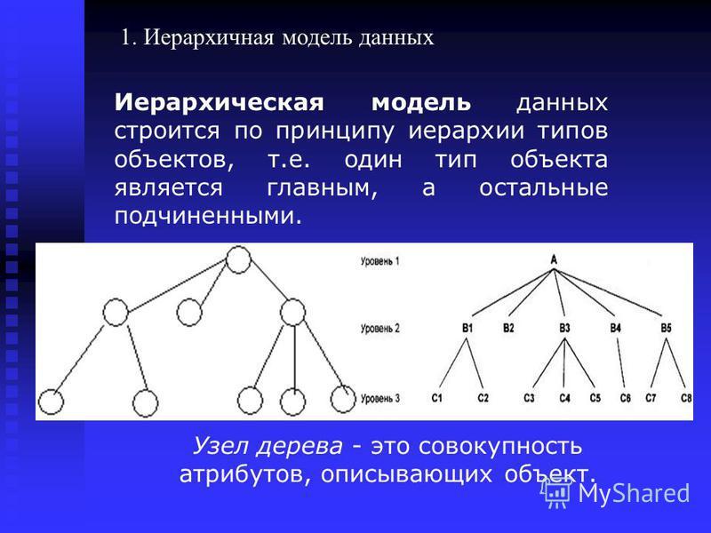 Иерархическая модель данных строится по принципу иерархии типов объектов, т.е. один тип объекта является главным, а остальные подчиненными. Узел дерева - это совокупность атрибутов, описывающих объект. 1. Иерархичная модель данных