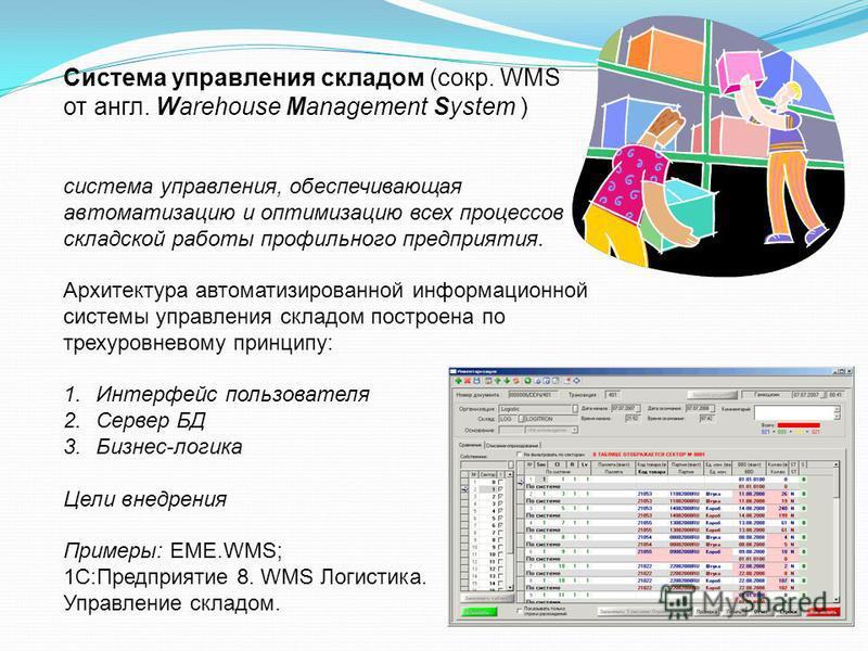 Система управления складом (сокр. WMS от англ. Warehouse Management System ) система управления, обеспечивающая автоматизацию и оптимизацию всех процессов складской работы профильного предприятия. Архитектура автоматизированной информационной системы