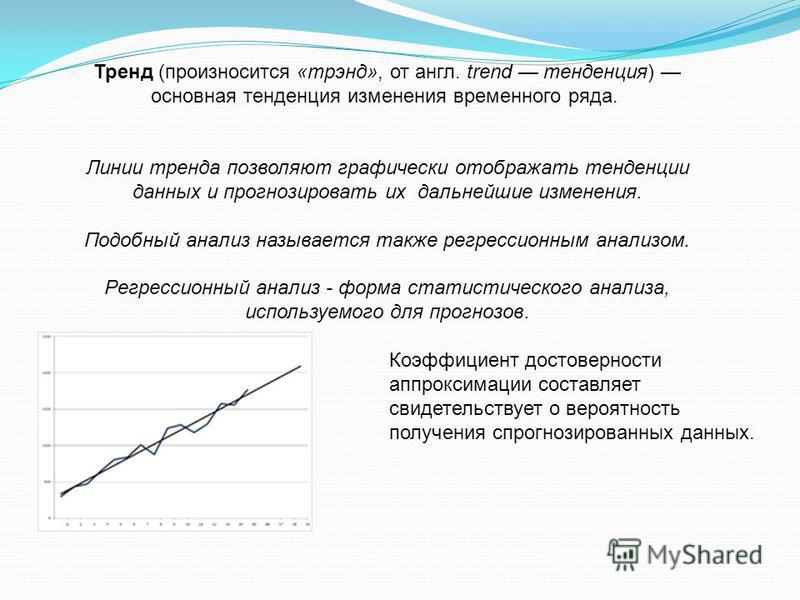 Тренд (произносится «трэнд», от англ. trend тенденция) основная тенденция изменения временного ряда. Линии тренда позволяют графически отображать тенденции данных и прогнозировать их дальнейшие изменения. Подобный анализ называется также регрессионны