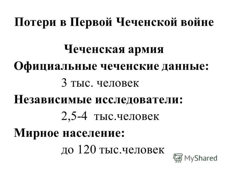 Потери в Первой Чеченской войне Чеченская армия Официальные чеченские данные: 3 тыс. человек Независимые исследователи: 2,5-4 тыс.человек Мирное население: до 120 тыс.человек