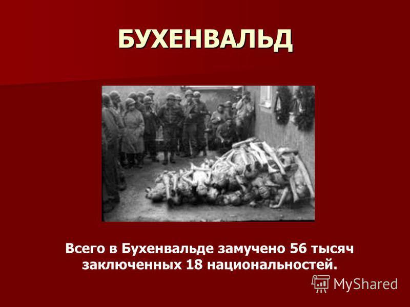 БУХЕНВАЛЬД Всего в Бухенвальде замучено 56 тысяч заключенных 18 национальностей.