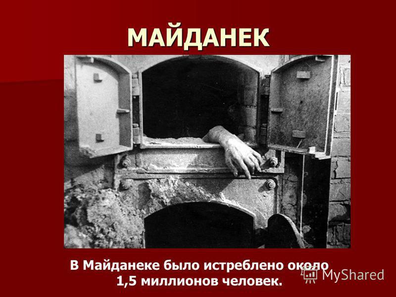 МАЙДАНЕК В Майданеке было истреблено около 1,5 миллионов человек.