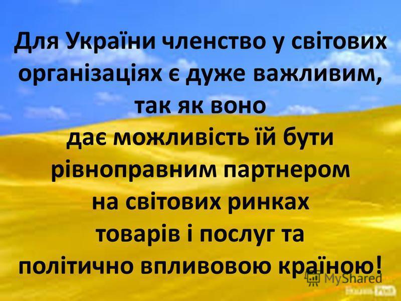 Для України членство у світових організаціях є дуже важливим, так як воно дає можливість їй бути рівноправним партнером на світових ринках товарів і послуг та політично впливовою країною!