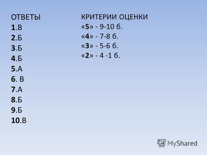 ОТВЕТЫ 1. В 2. Б 3. Б 4. Б 5. А 6. В 7. А 8. Б 9. Б 10. В КРИТЕРИИ ОЦЕНКИ «5» - 9-10 б. «4» - 7-8 б. «3» - 5-6 б. «2» - 4 -1 б.
