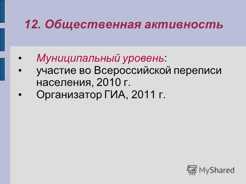 12. Общественная активность Муниципальный уровень: участие во Всероссийской переписи населения, 2010 г. Организатор ГИА, 2011 г.