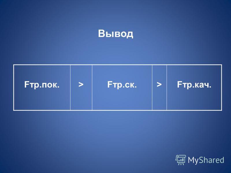 Вывод Fтр.полк.>Fтр.ск.>Fтр.кач.