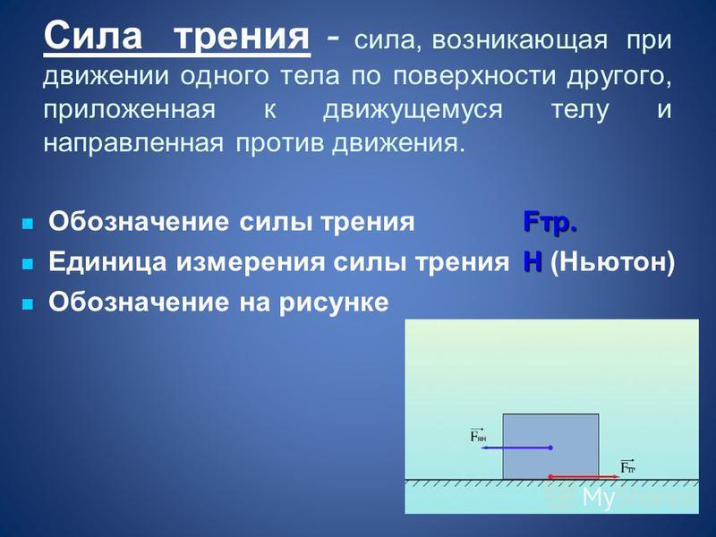 Сила трения - сила, возникающая при движении одного тела по поверхности другого, приложенная к движущемуся телу и направленная против движения. Fтр. Обозначение силы трения Стр. Н Единица измерения силы тренияН (Ньютон) Обозначение на рисунке