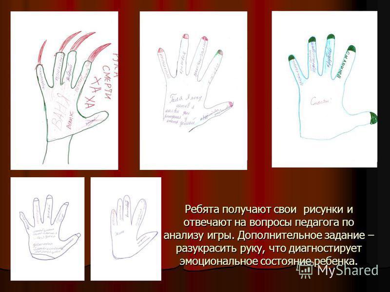 Ребята получают свои рисунки и отвечают на вопросы педагога по анализу игры. Дополнительное задание – разукрасить руку, что диагностирует эмоциональное состояние ребенка.