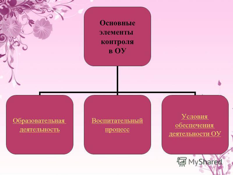Основные элементы контроля в ОУ Образовательная деятельность Воспитательный процесс Условия обеспечения деятельности ОУ