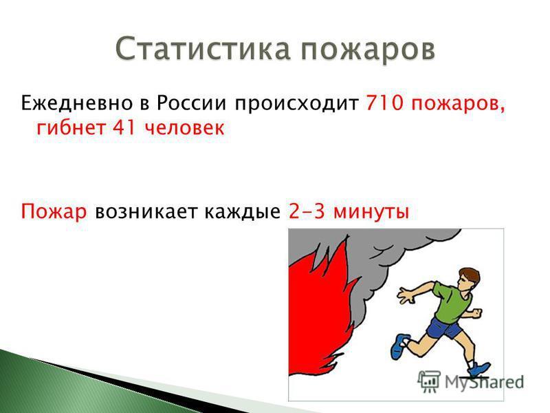 Ежедневно в России происходит 710 пожаров, гибнет 41 человек Пожар возникает каждые 2-3 минуты