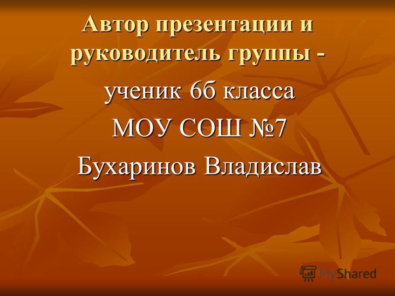 Автор презентации и руководитель группы - ученик 6 б класса МОУ СОШ 7 Бухаринов Владислав