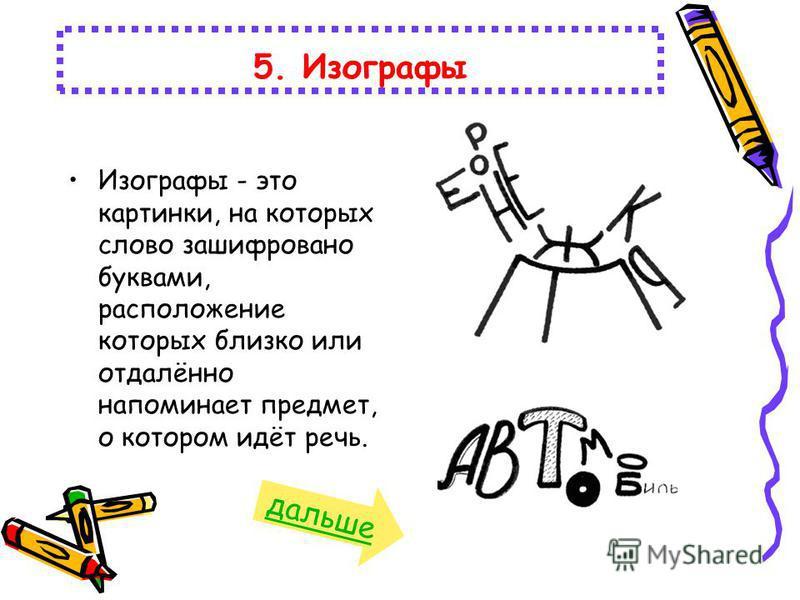 Изографы - это картинки, на которых слово зашифровано буквами, расположение которых близко или отдалённо напоминает предмет, о котором идёт речь. 5. Изографы дальше