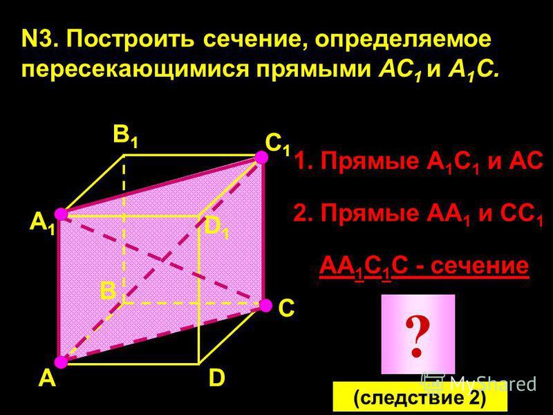 N3. Построить сечение, определяемое пересекающимися прямыми АС 1 и А 1 С. А А1А1 В1В1 С1С1 D1D1 D В С 1. Прямые А 1 С 1 и АС 2. Прямые АА 1 и СС 1 АА 1 С 1 С - сечение ? (следствие 2)