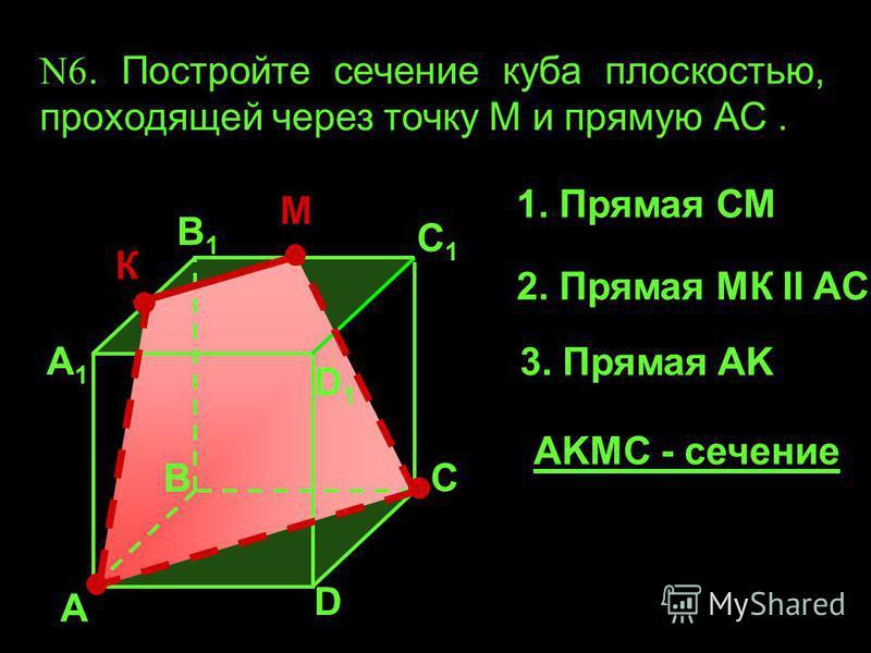 А А1А1 В1В1 С1С1 D1D1 D В С N6. Постройте сечение куба плоскостью, проходящей через точку М и прямую АС. К М 1. Прямая СМ 2. Прямая МК II AC 3. Прямая AK AKМС - сечение