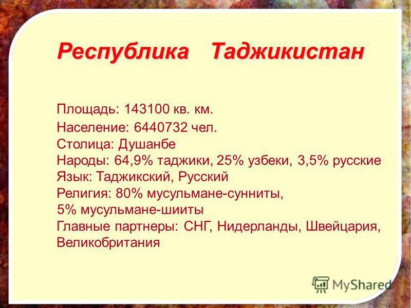 Республика Таджикистан Площадь: 143100 кв. км. Население: 6440732 чел. Столица: Душанбе Народы: 64,9% таджики, 25% узбеки, 3,5% русские Язык: Таджикский, Русский Религия: 80% мусульмане-сунниты, 5% мусульмане-шииты Главные партнеры: СНГ, Нидерланды,