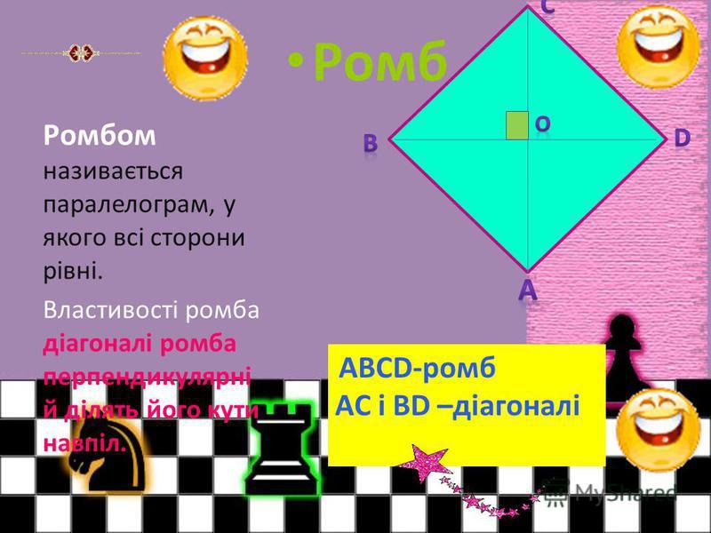 Ромб Ромбом називається паралелограм, у якого всі сторони рівні. Властивості ромба діагоналі ромба перпендикулярні й ділять його кути навпіл. ABCD-ромб AC і BD –діагоналі