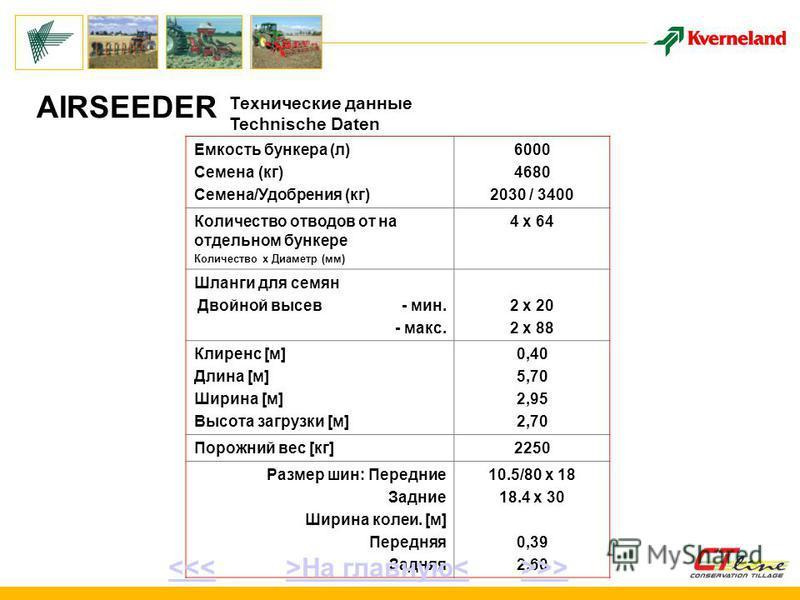 Емкость бункера (л) Семена (кг) Семена/Удобрения (кг) 6000 4680 2030 / 3400 Количество отводов от на отдельном бункере Количество х Диаметр (мм) 4 x 64 Шланги для семян Двойной высев - мин. - макс. 2 x 20 2 x 88 Клиренс [м] Длина [м] Ширина [м] Высот